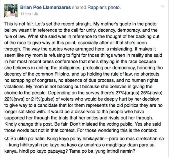 Poe's son defends her in social media