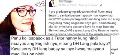 This recruiter shames Education graduate for not being fluent in English and said people like that are fit to work as domestic helper only