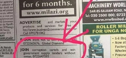 This corruption advertisement on Friday's Daily Nation has left Kenyans shocked