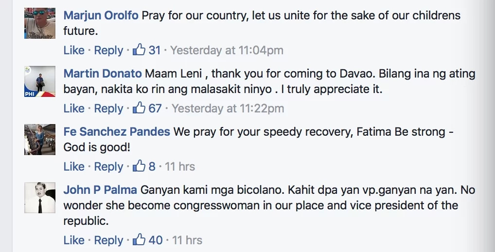VP Leni visits Davao bombing victim Fatima Manalo