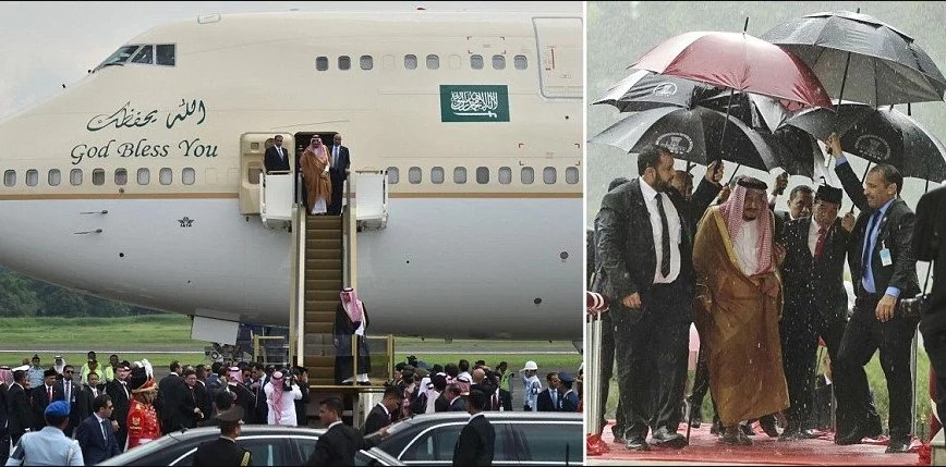 Saudi King Salman visits Indonesia, arriving in his GOLD-CLAD plane (photos)