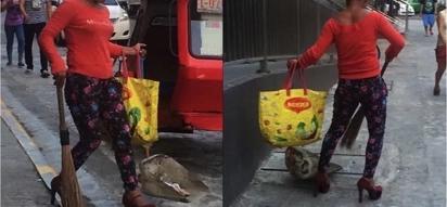 PAK! Fierce cleaning lady sweeping the street in HEELS!
