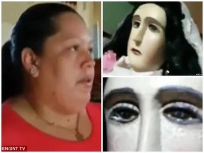 Miracle! WEEPING statue of Virgin Mary triggers commotion as curious believers flock to church to see it (photos)
