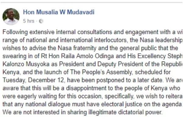 Mudavadi ataja uwezekano wa mazungumzo na Jubilee