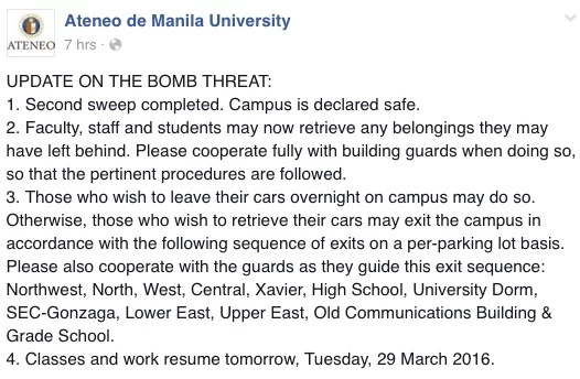 Ateneo Campus Declared Safe After Bomb Threats
