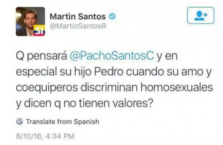 """El hijo de """"Pacho"""" Santos salió del closet sin ningún tapujo"""