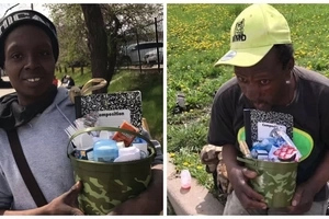 Previously homeless woman, 21, spends Easter donating food to homeless people (photos)