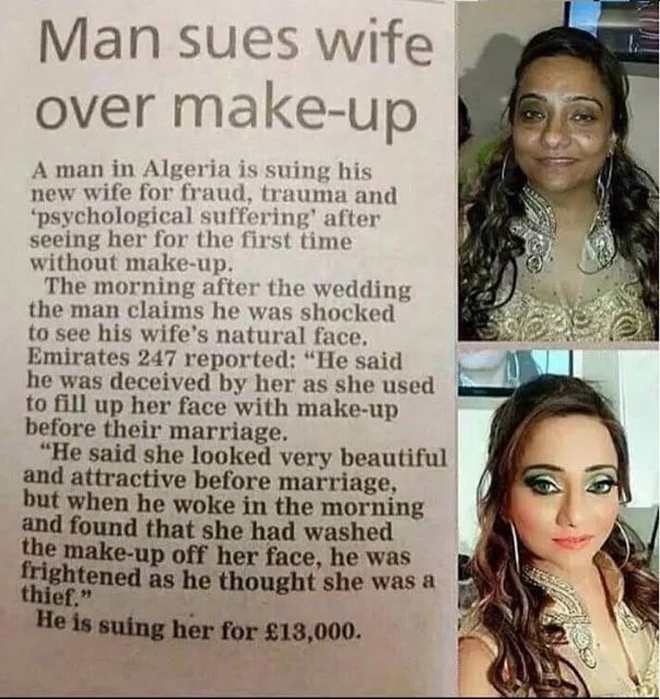 Man takes wife to court after seeing her without make-up for the first time