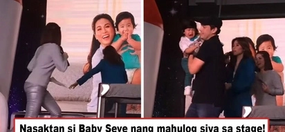 Kawawa ang baby ni Toni! Baby Seve falls off from the stage during Toni Gonzaga's event