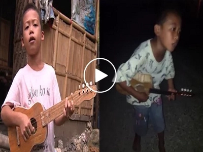 Mapagmahal na kapatid! Hardworking 8-yeear old boy serenades people to feed baby sister