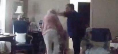 Barbaric! Caretaker filmed hitting elderly woman for giving human food to dog