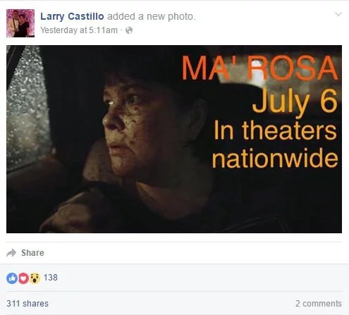 Ma'Rosa screening date in PH cinemas announced