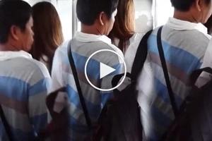 MRT pervert strikes again! Helpless long-haired girl endures minutes of assault on her womanhood