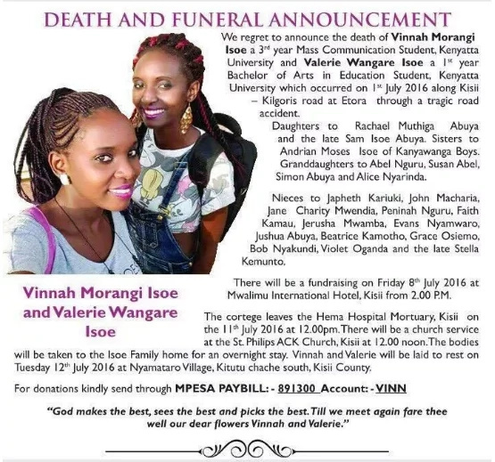 Varsity sisters killed in Kisii accident buried (photos)