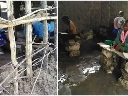 Outrage as photos of pupils sitting on rocks inside flooded and tattered mud-walled classroom emerge