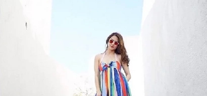 Marian Rivera's colorful OOTD stands out in the white city of Santorini in Greece