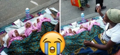 This desperate woman spotted begging with her newborn triplets (photos)