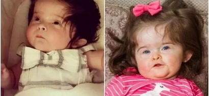 Meet adorable baby girl who was born with so much hair, that people think it's wig (photos)