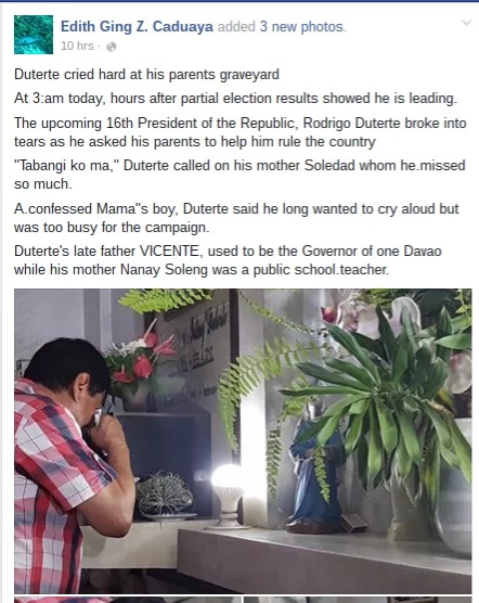 WATCH! Duterte weeps as dawn breaks
