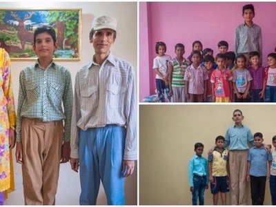 Towering! World's tallest 8-year-old boy measures 1.98m tall - twice the height of his age mates