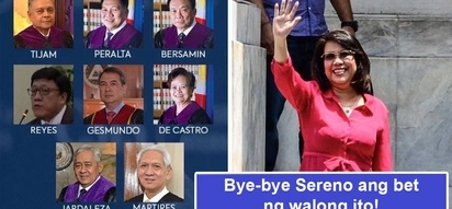 Atat na atat palitan? Supreme Court voting 8-6 ousts Chief Justice Sereno through quo warranto