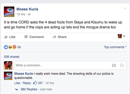 Police should have killed more CORD protesters- Moses Kuria