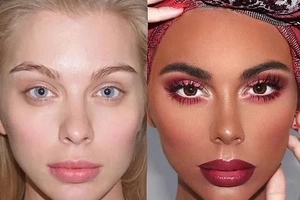 Makeup artist lands herself in boiling water after she gave blue-eyed white lady a black woman's face (photos)