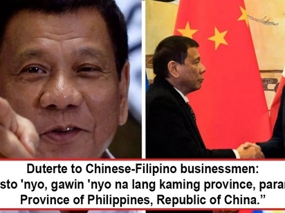 Joke lang daw po! Duterte cracks joke about the Philippines being made a Province of China in front of Filipino-Chinese businessmen