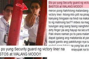 This arrogant Victory Liner security guard forces weak old passenger to get up and even shows dirty finger to a concerned commuter