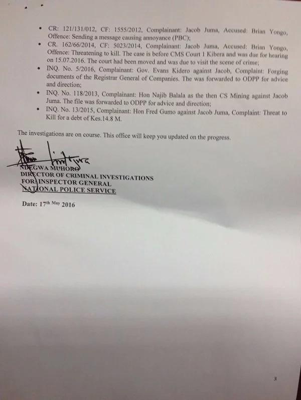 Homicide investigations report into death of Jacob Juma