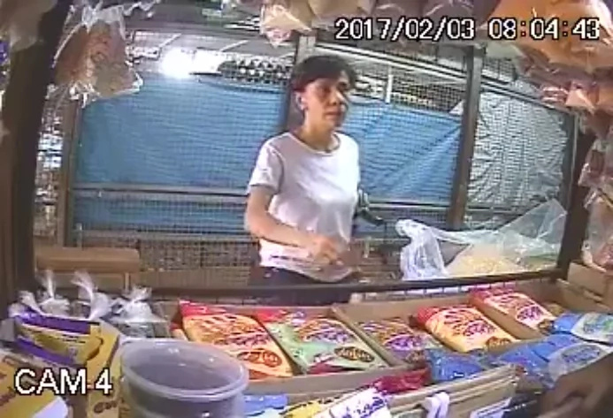 CCTV caught a woman in the act of stealing.