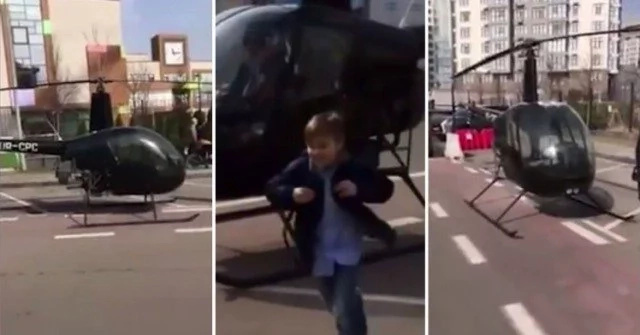 See how father takes his son to school in helicopter after he woke up late (photos, video)
