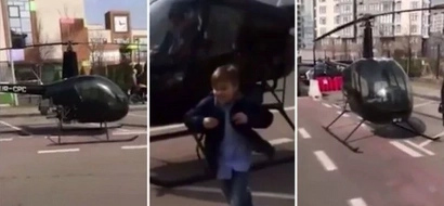 Rare privilege! Father takes his son to school in HELICOPTER after he woke up late (photo, video)