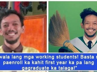 Kahanga-hanga ang dedikasyon sa pag-aaral! Trending graduation picture of a student holding a broom inspires the netizens