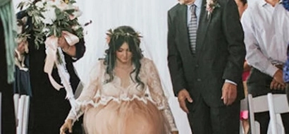 Her parents wheeled his bride to the Aisle. Her next move has her groom in tears…