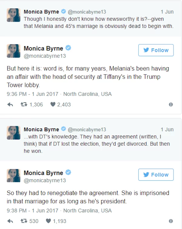 Monica Byrne made the allegations in a series of tweets