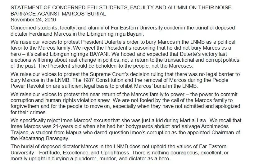 FEU Tamaraws Against Marcos group spearheads noise barrage condemning Marcos burial