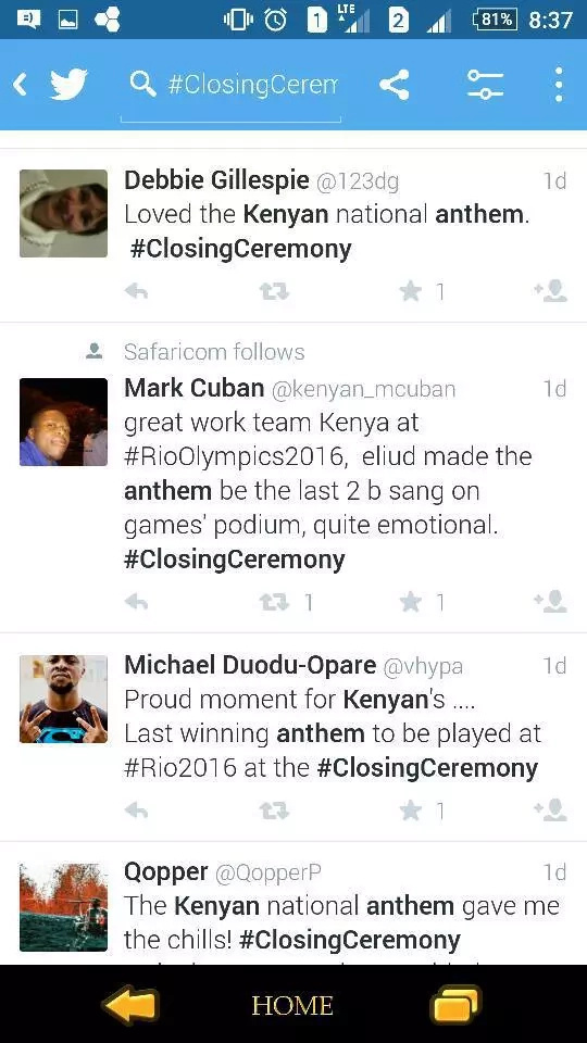 The whole wide world goes crazy over the Kenya national anthem