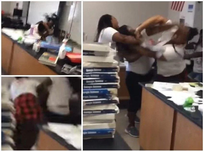 Teachers exchange lethal blows in class as bemused students scream for help (photos, video)