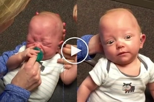 This toddler can hear for the first time... His reaction is UNBELIEVABLE!
