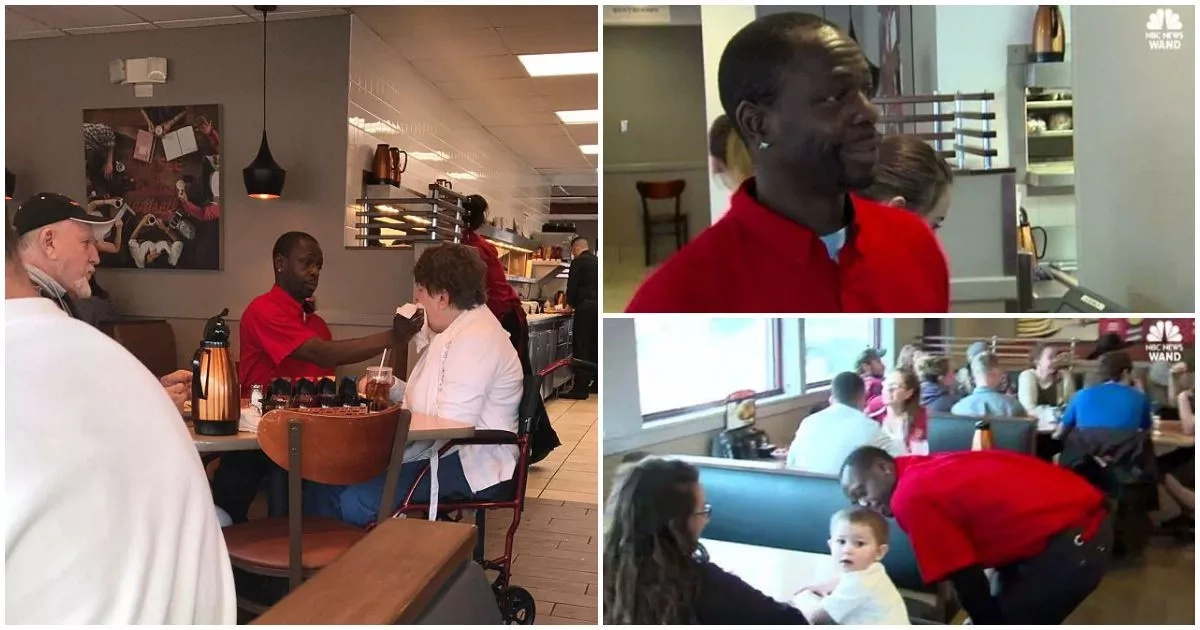 This waiter FEEDS disabled customer so she can enjoy breakfast with her husband (photos)