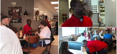 Touching! Waiter FEEDS disabled customer so she can enjoy breakfast with her husband (photos)