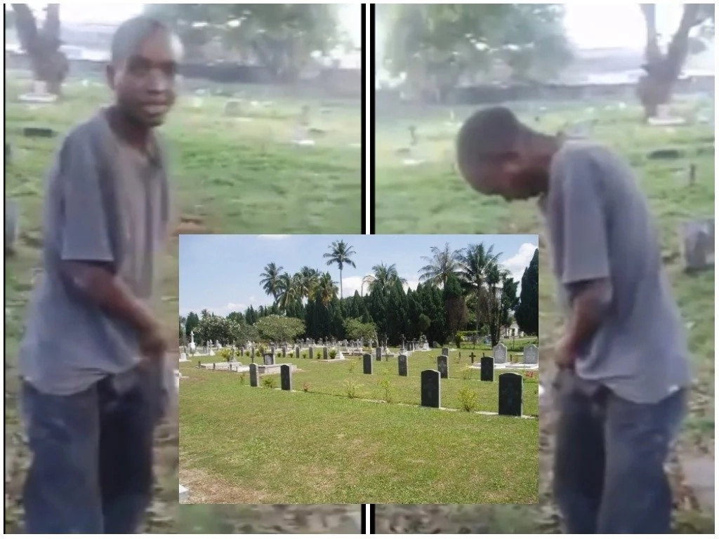 Man forced to smear his face with poop after he was caught defecating in the graveyard (photos)
