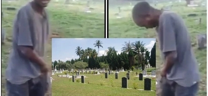Man forced to pocket and smear his face with FAECES after he was caught defecating in graveyard (photos)