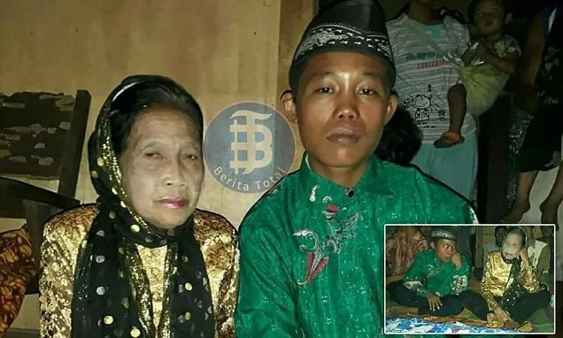 Unusual couple: 16-year-old teen marries 71-year-old widow threatens to kill himself if anyone stopped them (photos)
