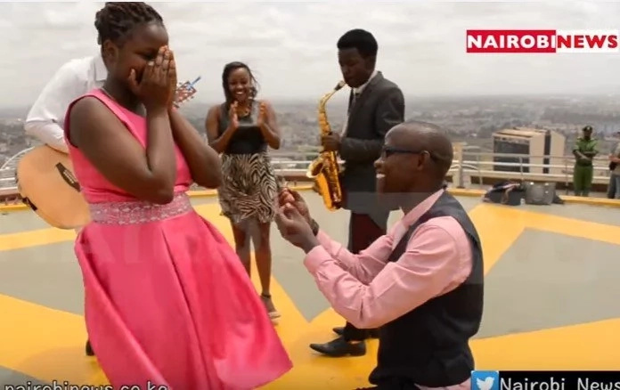 In 7th heaven! Man proposes to girlfrend at PEAK of KICC building (sweet photos, video)