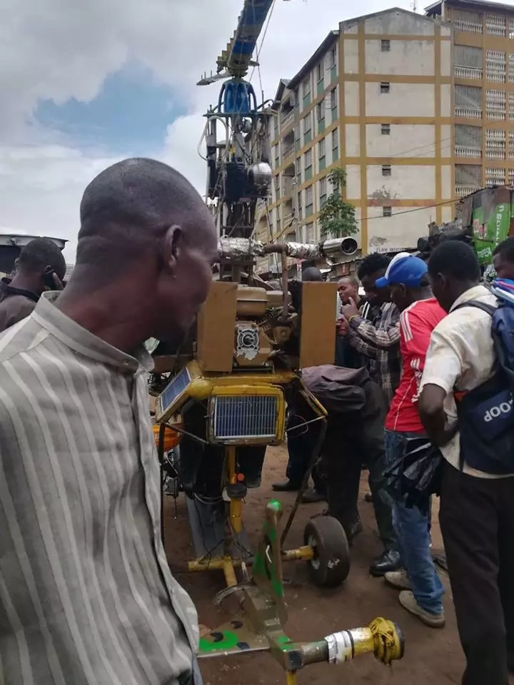Nairobi man brings traffic to a halt as he test-drives his makeshift helicopter at Ngara