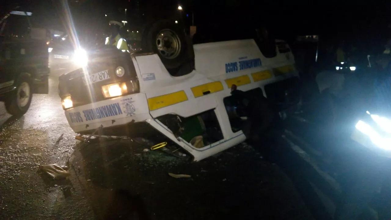 Ugly scenes near Serena Hotel as Kawangware matatu rolls several times (photos)