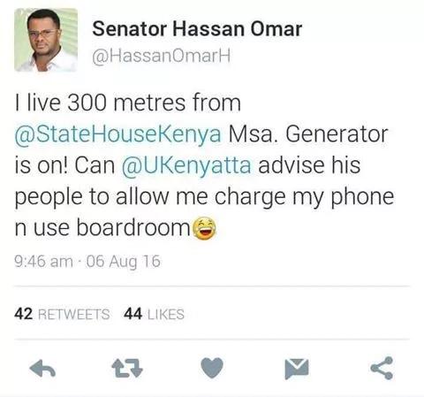 Senator Hassan Omar makes fun of Uhuru over power blackout