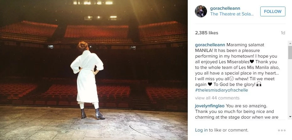 'Les Mis' comes to a close; Rachelle Ann Go thanks Filipinos